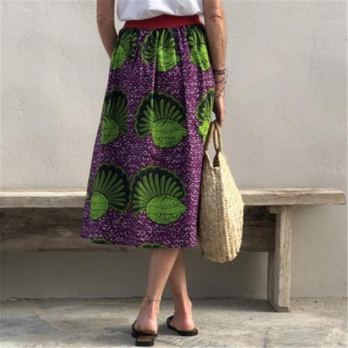Women's Casual Printed Pockets Skirt RY58