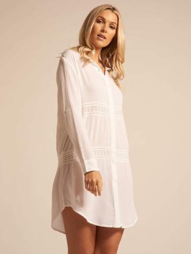 White Loose Lacy Split-joint Blouses Tops