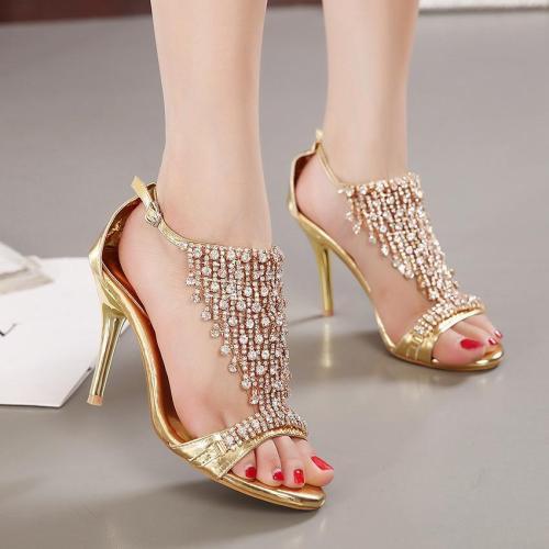 Rhinestone Open Toe Ankle Wrap Stiletto Heels Sandals