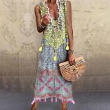 V-Neck Sleeveless Printed Vacation Maxi Dress