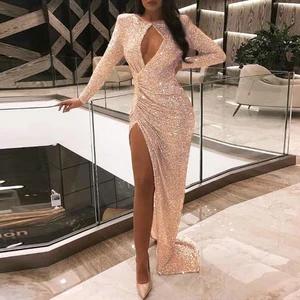 Sexy Pleated High Slit Long Sleeve Dress