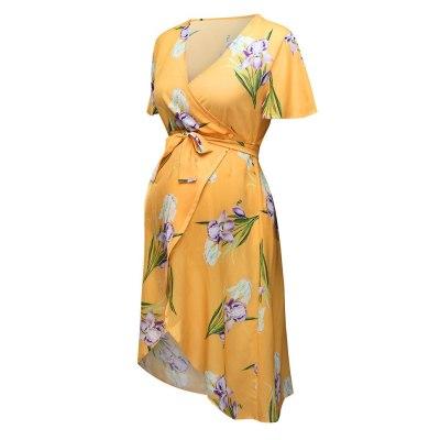 Women Short sleeve Pregnant Maternity  Dresses Floral Print Sundress Sexy Beach Vestido pregnancy Dresses