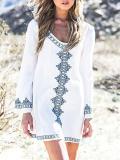 Beautiful Bohemia Long Sleeve Big Round Neck Mini Dress