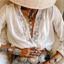Ethnic Style Print V-Neck Shirt