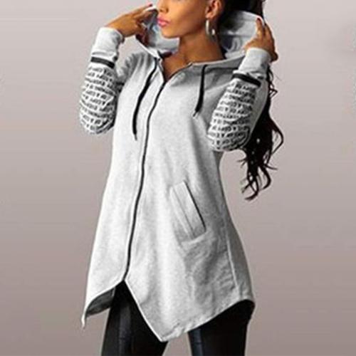 Hoodie Slim Irregular Hem Hooded Coat Plus