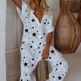 EBUYTIDE Fashion Star Print Button Short Sleeve Jumpsuit