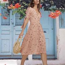 Elegant V Neck Belted Floral Pattern High-Waist Halflong Sleeve Dress