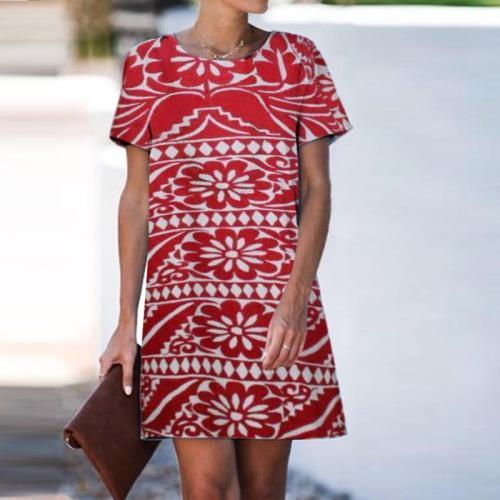 Casual Round Neck Print Shift Dress