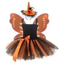 Kids Girls Orange Black Halloween Tutu Dress with Wings And Hat Little Girls Pumpkin Scary Costume Kids Festival Outfits