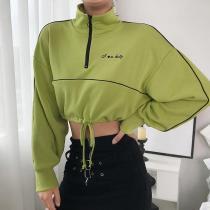 Crop Sweatshirt Women Pullover T Shirt Cotton Green Long Sleeve harajuku tshirt Patchwork Sweatshirt camiseta mujer