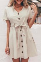Fashion V Collar Plain Short Sleeves Cardigan Dress