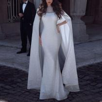 Fashion Diamond Mesh Large Shawl Fishtail Evening Maxi Dress
