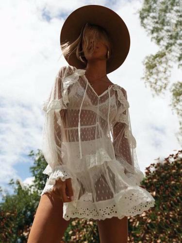 V-neck Ruffled Collar Mini Dresses
