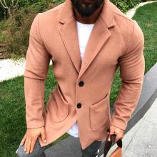Commuting Pure Colour Turndown Collar Mid-Length Coat