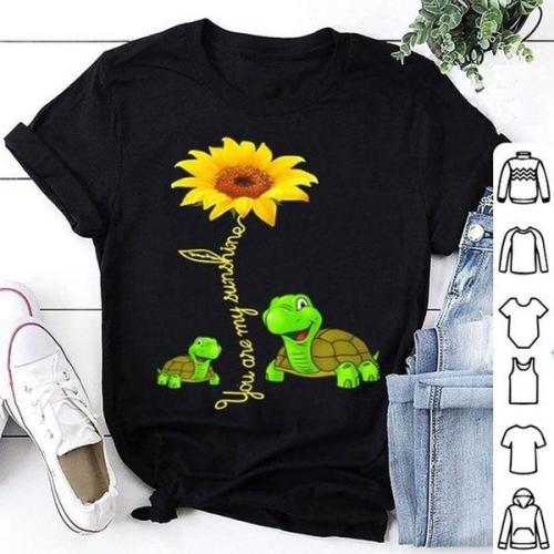 Sunflower Turtle Printed Funny Short Sleeve Round Neck Summer T-shirt Top