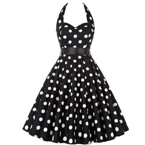 EBUYTIDE Polka Dot Retro Dress Halter Party Dress Bow Hepburn Vintage Pin Up Rockabilly Dresses Robe Plus Size Elegant Midi Dress