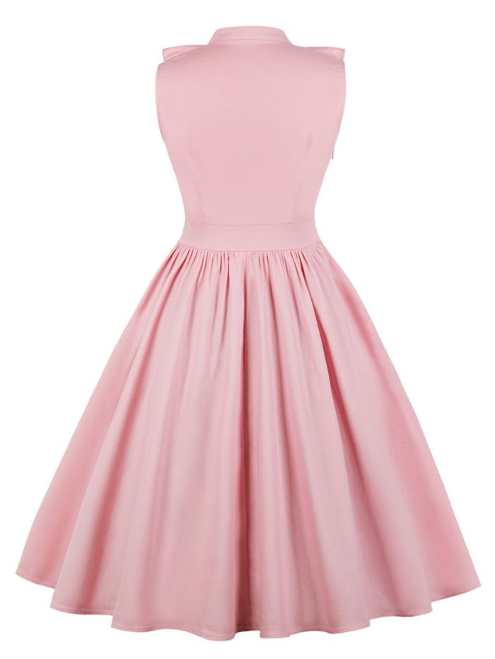 Pink 1950s Ruffle Trim Circle Dress