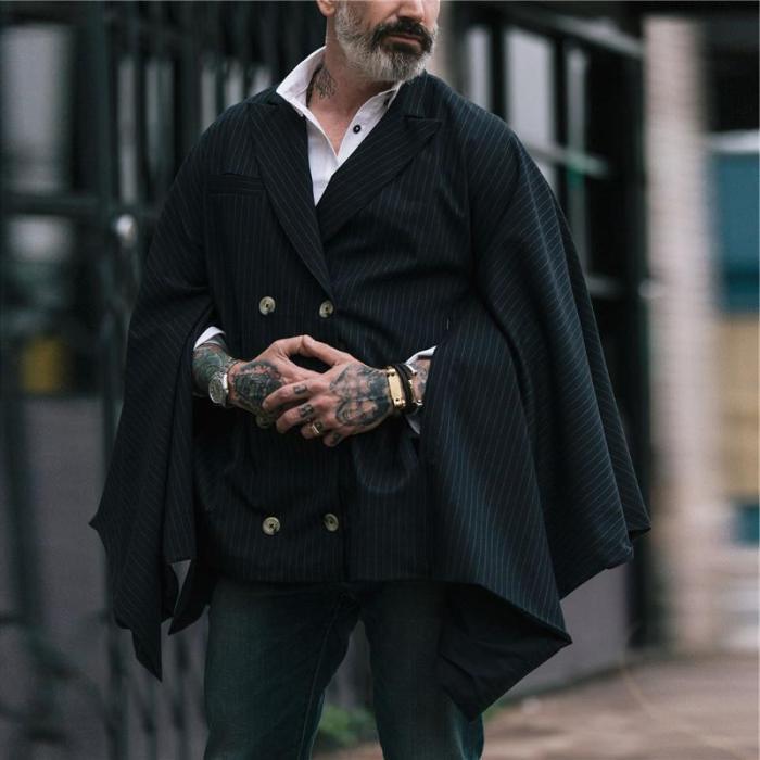 Men's Lapel Striped Double-Breasted Cloak