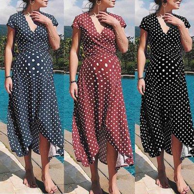 Dress Summer Pregnant Womens Fashion Sexy Maternity Dot V Neck Short Sleeve Long Dress Summer Maternity Dresses