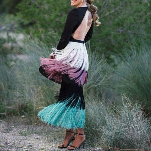 Sexy Black Long Sleeve Backless Tassel Maxi Dress