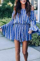 Casual Boat Neck Ruffled Long Sleeve Mini Dresses
