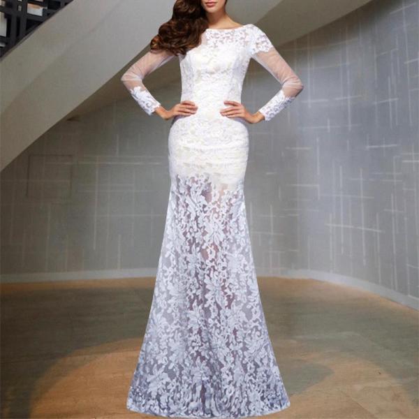 Elegant Sexy Round Neck Lace Long Sleeve Evening Dress