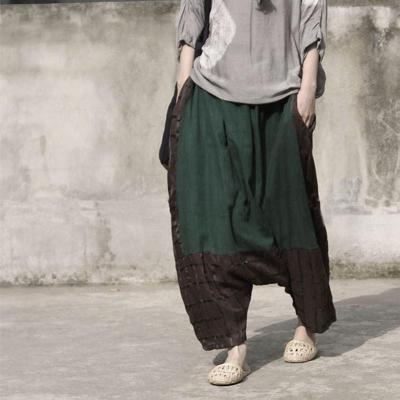Cotton and Linen Drop Crotch Harem Pants