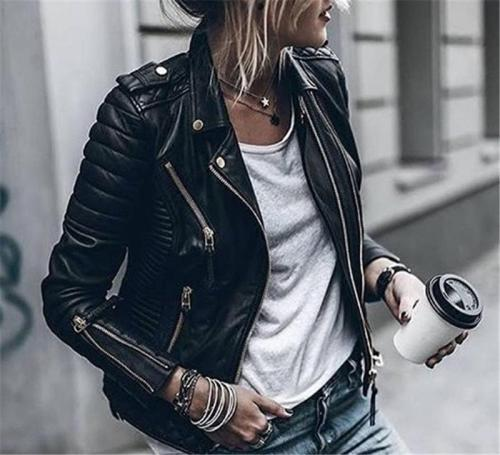 Pure Color Zippers Women Slim Short Jacket