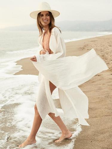 White Long Sleeves Bandage Beach Cover-Ups