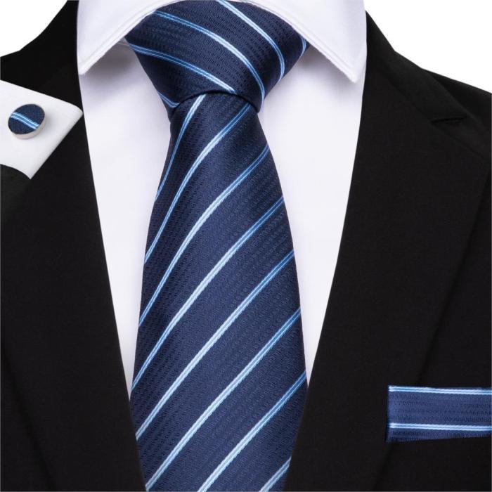 EBUYTIDE 150cm Length 28 Styles Plaid Ties Yellow Pink Red Blue Hanky Cufflinks Set Men's Silk Tie 8cm Tie Wedding Groom Crava