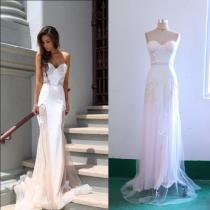 Halter Lace Splicing Fishtail Dress Evening Dress