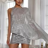 Fashion Sequins Sexy Backless Mini Bodycon Dress