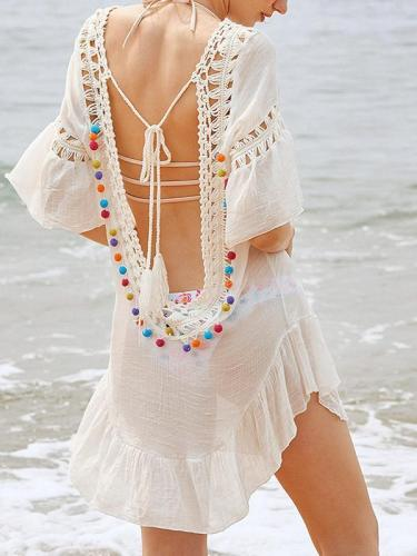 V-neck Backless Chiffon Cover Up