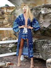 Navy Blue Chiffon Bohemia Floral Long Sleeve Cover-Up