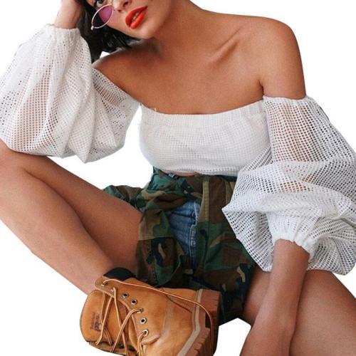 Lantern Long-sleeved Mesh One-shoulder T-shirt Tops Women