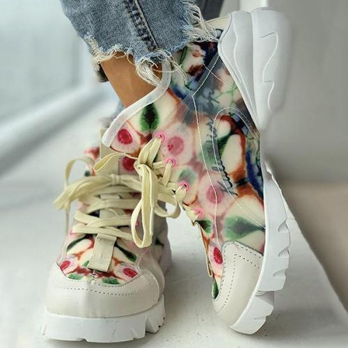 EBUYTIDE Flower Print Lace Up Daddy Shoes