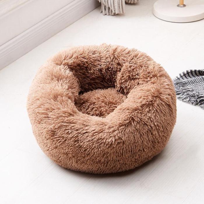 Round Soft Plush Cat Bed