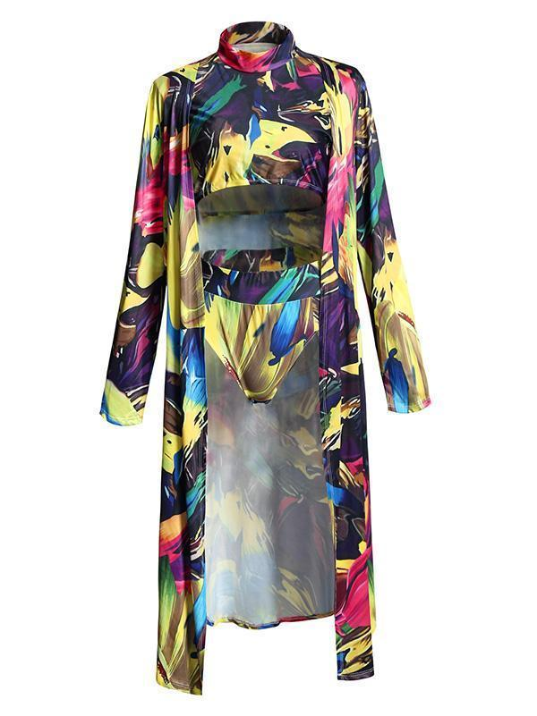 Greasepaint Printed Tankini Swimsuit And Cover-Up Swimwear