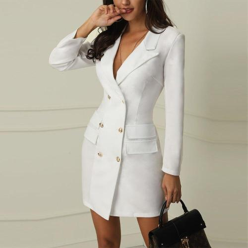 Sexy Double-breasted Thin Blazer Coat Women Autumn Casual Long Sleeve Gold Button Elegant Slim Solid Long Blazer Trendy Coat