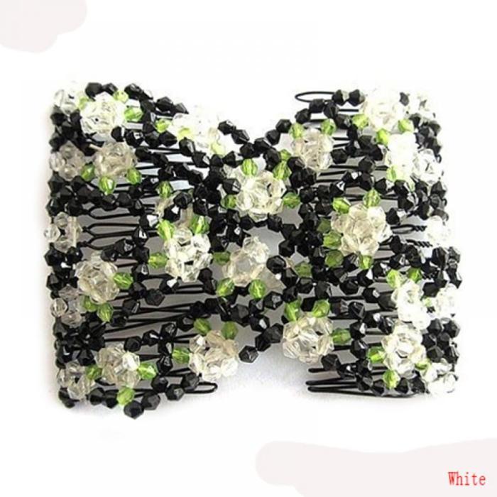 Elegant Women Hair Accessories Exquisite Crystal Rhinestone Barrette Hair Clip Rose Bow Hair Head Double Comb Hair Clip