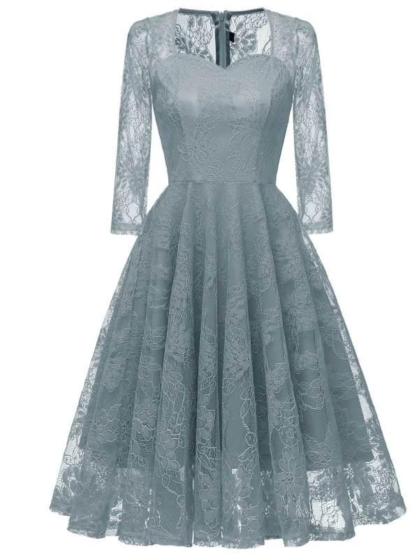 1950s Lace 3/4 Sleeve Swing Dress