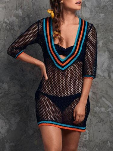 Sexy Hollow Deep-neck Cover-ups Swimwear