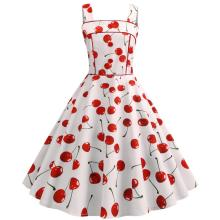 Cherry Print Vintage Dresses Summer 2020 Sleeveless  Style Big Swing 1950s 60s Rockabilly Dress Big Swing Pinup Vestido