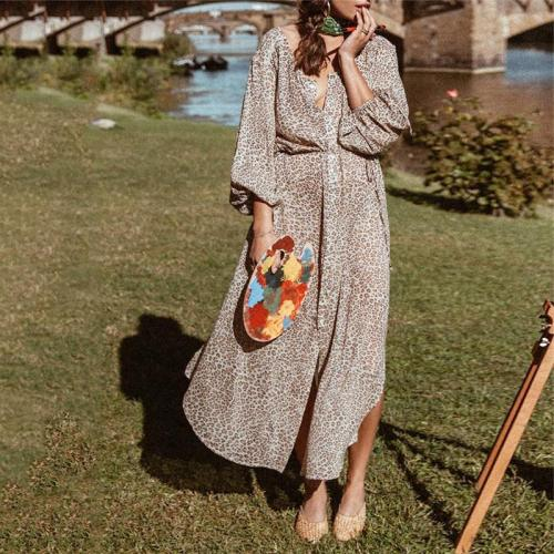 Women's Round Neck Single-Breasted Printed Loose Dresses