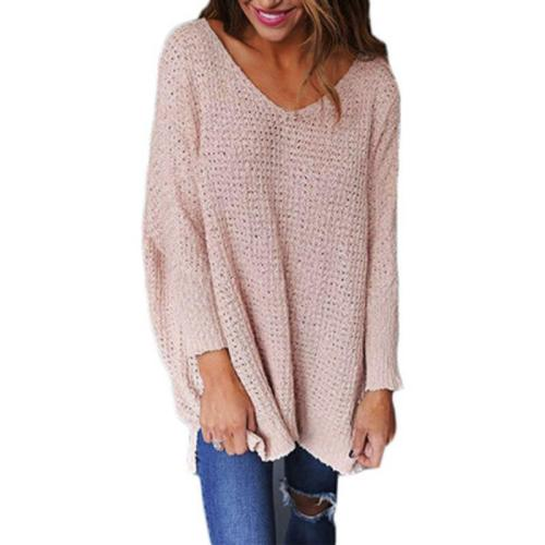 Pure Color V-Neck Long   Sleeve Loose Sweater