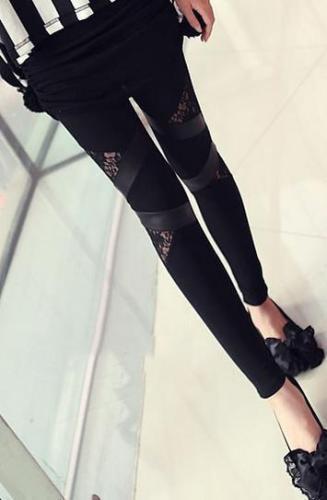 Lace Patchwork Plus Size PU Skinny Leggings
