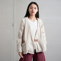 Chinese Style Long Sleeve Linen Vest