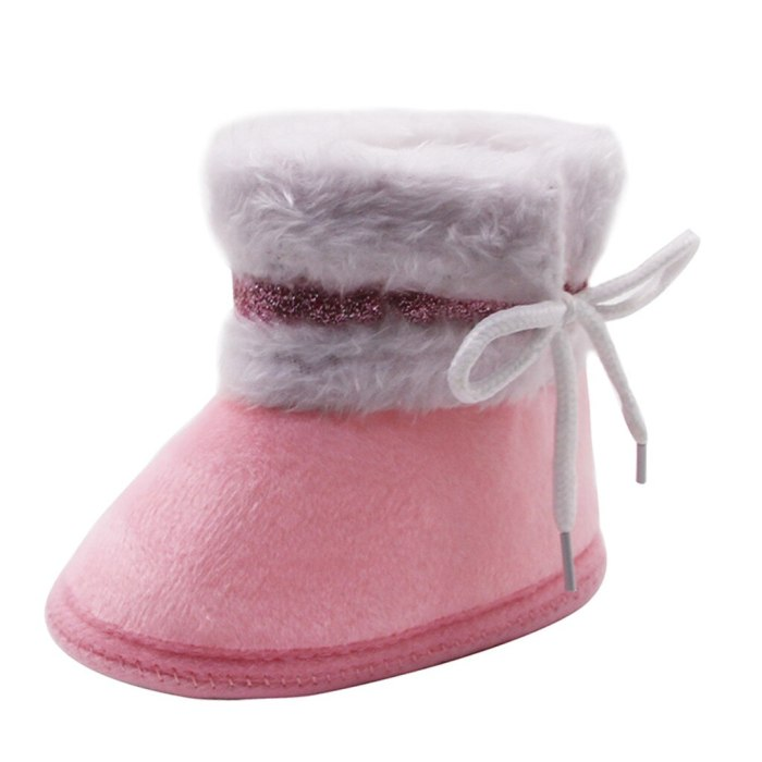 2020 Baby Girl Boys Shoes Newborn Baby Moccasins Shoes Non-slip Crib First Walker Cashmere Plush Winter Boots Baby Shoes 95