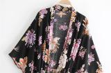 Boho Robe, Kimono Robe, Bird Paradise in Black