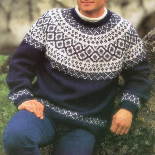 Dark Blue Icelandic Knit Sweater TT004